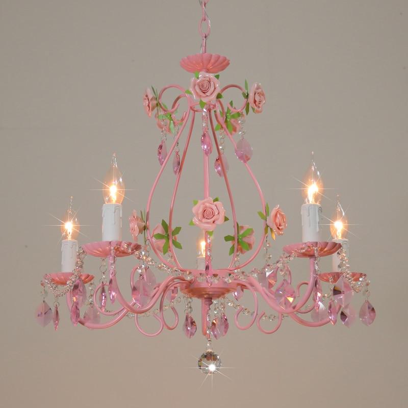 Pink Rose Wedding Chandelier Lighting Restaurant Chandeliers Crystal Lamp Ceiling Bedroom Chandelier Modern Lustre Crystal Light