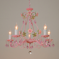 Pink Rose Wedding light iron chandelier Garden Lighting Restaurant Lighting Bedroom Chandelier Modern Crystal Lights LED Lampada