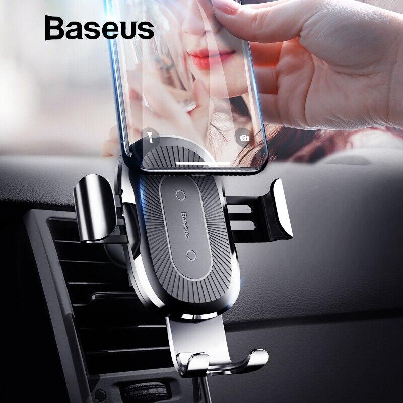 Baseus Car Holder Qi cargador inalámbrico para el iPhone Samsung S9 más titular del teléfono móvil 10 W rápido cargador de coche inalámbrico teléfono