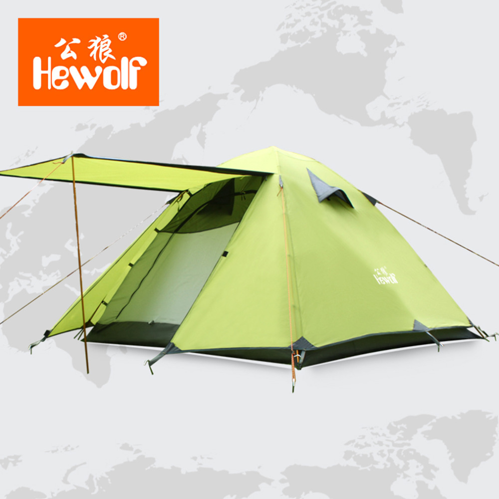 Hewolf Hunting Picnic Party Hiking Camping Double Layer 3-4 Person Tents Rainproof Waterproof Outdoor Camping Tent Tourist Tent hewolf 2persons 4seasons double layer anti big rain wind outdoor mountains camping tent couple hiking tent in good quality
