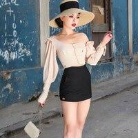 le palais vintage 2018 Summer Vintage Chiffon Short Blouse Stylish Off Shoulder Type Irregular Cutting Puff Sleeve Shirt