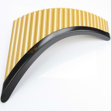22 Pipes Panpipes with Base G Key ABS Plastic Romania Panflute Musical Instrument Golden Black color Pan flute Panpipe with Base