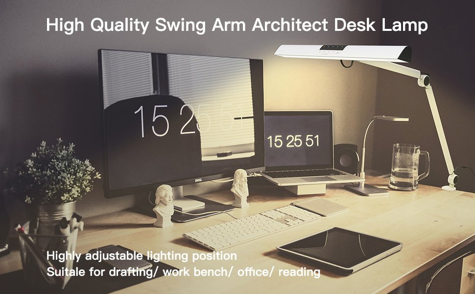 O790UcSSKn. & A509 LED Swing Arm Architect Desk Lamp Clamp Touch Table Lamp for ...