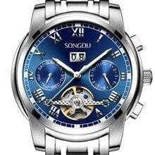 SONGDU fashion automatic mechanical watch Tourbillon calendar luminous waterproof hollow Steel strap men watches reloj hombre