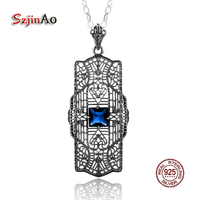 Szjinao 925 Sterling Silver Sapphire Charm Slavic Pendants & Necklaces Hollow Suspension Women Antique Jewelry collier femme