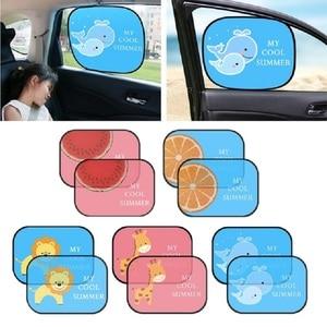 Image 1 - 2 piezas bonita de dibujos animados de coche cortina de diseño electrostática adsorción coche bloque de sol Anti UV Universal Ventana de coche bebé gafas de sol