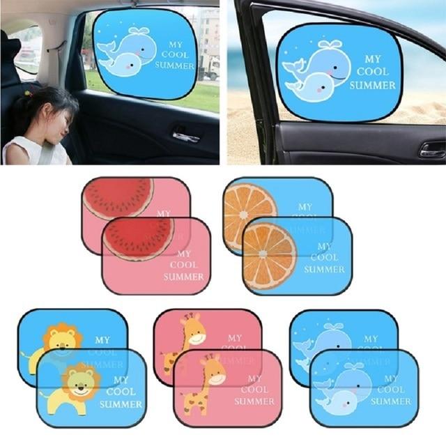 2 piezas bonita de dibujos animados de coche cortina de diseño electrostática adsorción coche bloque de sol Anti UV Universal Ventana de coche bebé gafas de sol