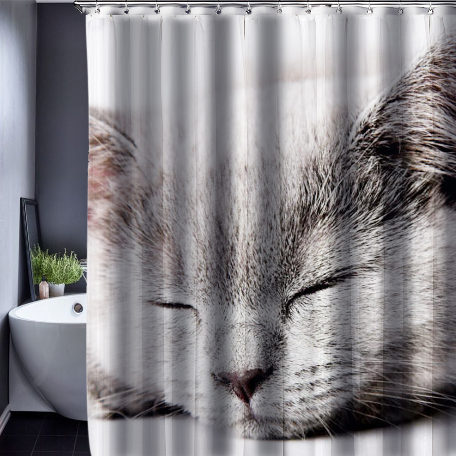 Dog Cat Shower Curtain Pattern Customized Waterproof Bathroom Fabric 165x180cm For In Curtains From Home