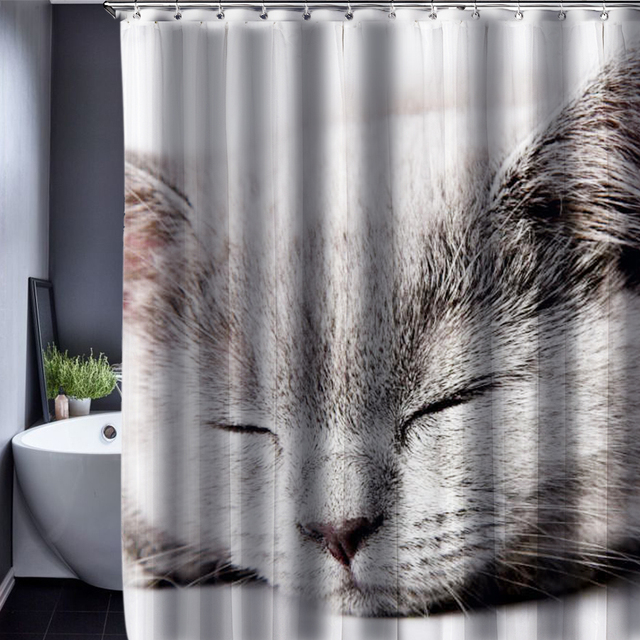 Dog Cat Shower Curtain Pattern Customized Waterproof Bathroom Fabric 165x180cm For
