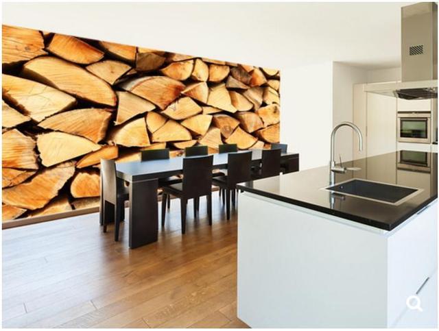 Camera Da Letto Legno Naturale : Personalizzato carta da parati naturale palo di legno foto d