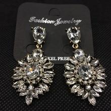 Free Shipping! Shiny Retro Geometrical Big Triangle Gem Dangle Drop Earrings Fashion Jewelry for Women Evening Dress Accessories