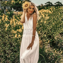 Cuerly sexy bohemian cotton lace dress women v neck holiday embroidery long 2019 summer female vestidos L5