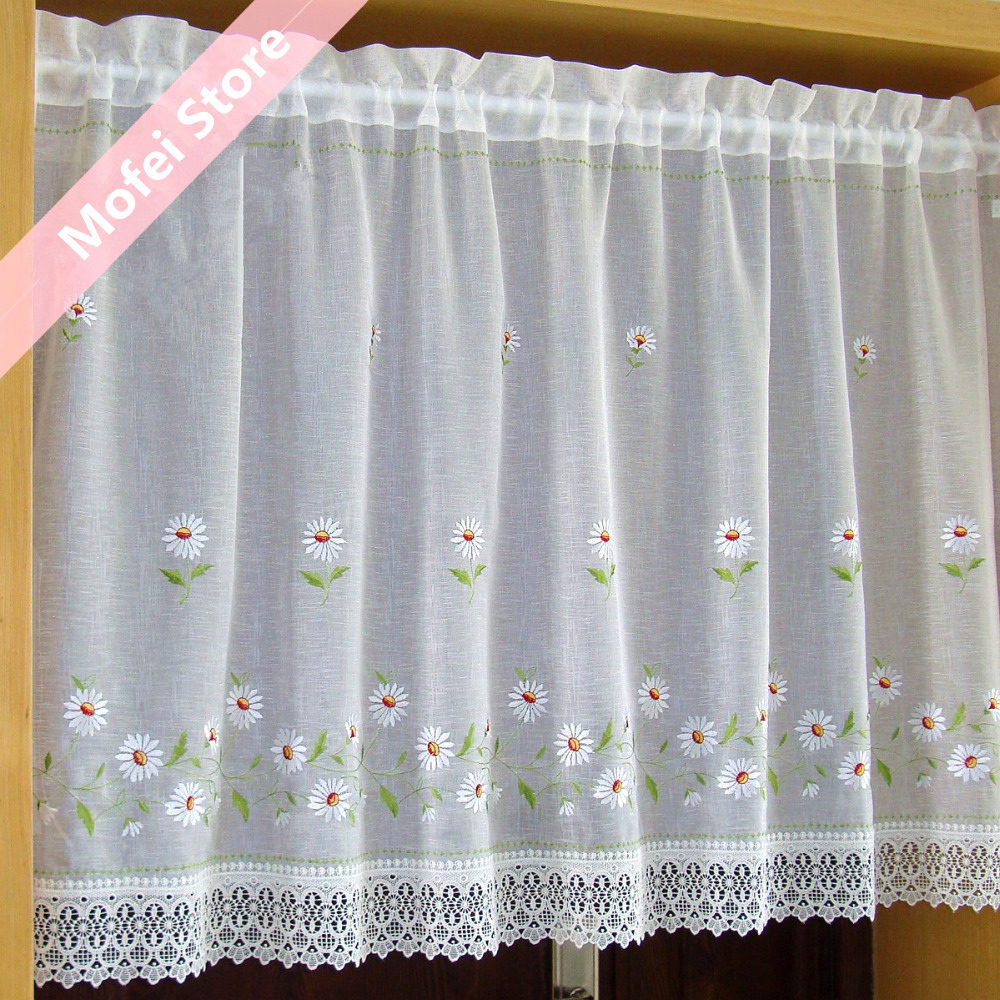 Countryside Half curtain Embroidered Window Valance Lace Bottom Coffee  Curtain for Kitchen Cabinet Door A 106-in Curtains from Home & Garden on ...