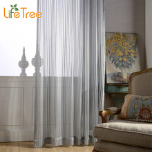 Grey Hollow & Stripe Modern Voile Curtains For Bedroom Living Room Window Sheer Balcony Window Tulle Custom Made