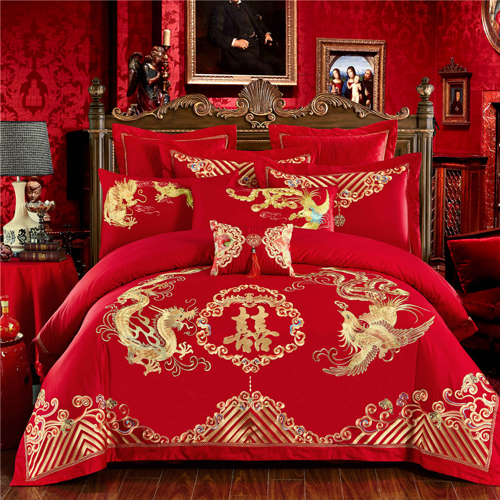 Chinese Wedding Red Bedding Set Asian Bedding With Dragon And Phoenix Bird Embroidery Duvet