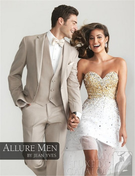 groom tuxedos boda suit Custom made Men(Jacket + pants +vest) formal wedding dress beige trajes de novio novio esmoquin hombres