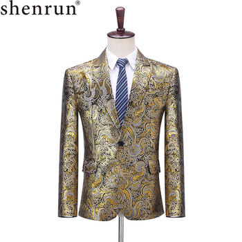 Shenrun Men Blazer Fashion Slim Fit Jackets Classic Pattern Gold Jacquard Suit Jacket Wedding Groom Party Prom Costume Singers