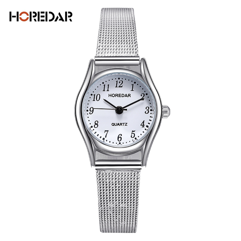 Elegant Slim Ladies Quartz Watch Small Dial Women Watches Silver Stainless Steel Mesh Wristwatches New Arrival female clock elegant women slim watch glossy brushed