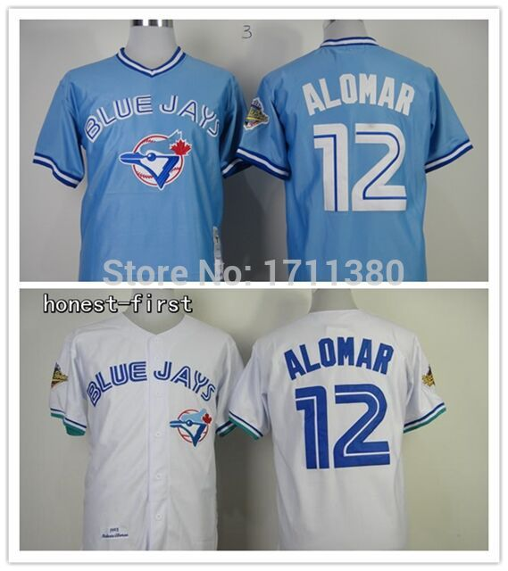 625f8aaa537 Toronto Blue Jays throwback jersey 12 Roberto Alomar jersey Retro Stitched  cheap authentic sport baseball jerseys custom M-3XL