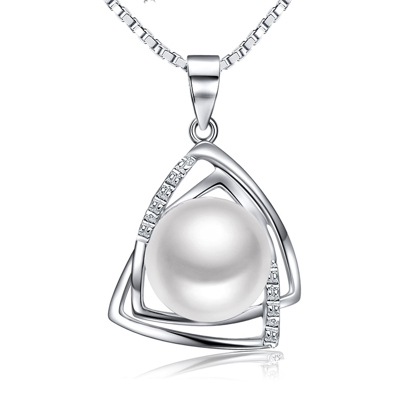 Sinya Pearl pendant necklace with 16,18inch 925 sterling silver box chain natural freshwater pearl 9.5-10mm charm sinya tz09044p