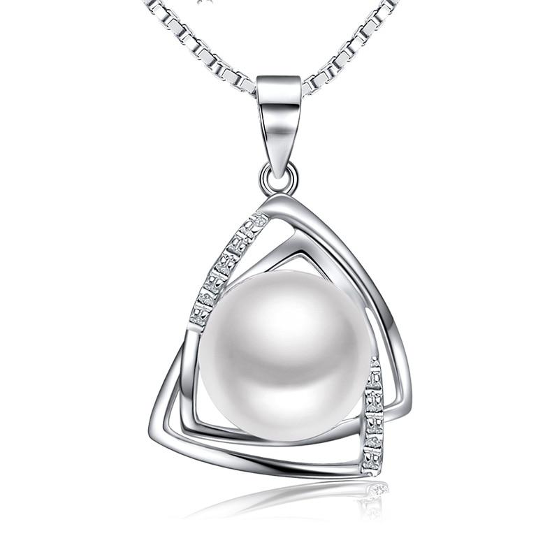 16,18inch 925 sterling gümüş qutu zənciri təbii şirin su incisi 9.5-10mm cazibədar sinya tz09044p