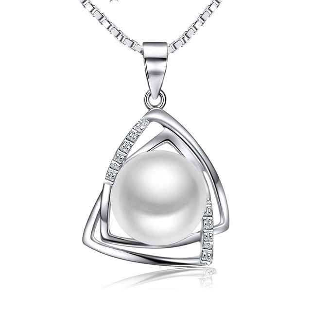 Pearl Necklace Jewellery Gift for Women 925 Sterling Silver D.Perlla Twist Pearl Pendant Necklace with 18in Box Chain TijFoR