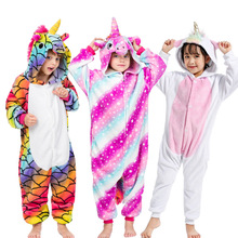 28 New Kids Animal Pajamas Set Winter Warm Boys Girls Starry Pegasus Unicorn Cosplay Children Sleepwear Onesie Flannel Pyjamas