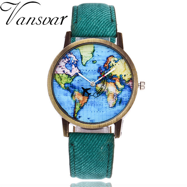 Vansvar Brand Fashion Plane And World Map Denim Fabric Band Watch Casual Women W