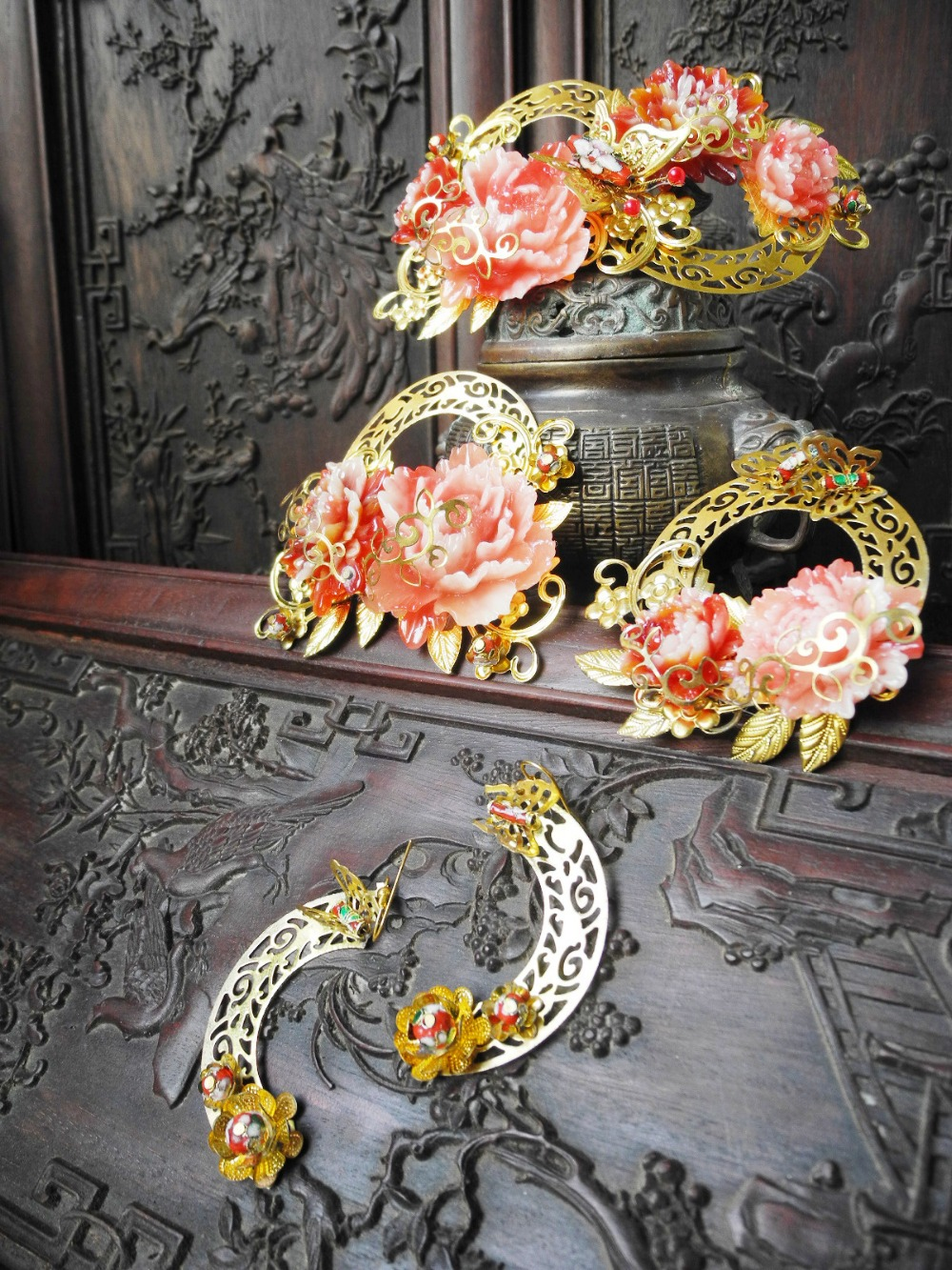 Chu Ge 6 designs Traditional Chinese Wedding Qipao Xiuhefu Costume Accessory Bride Hair Accessory Set