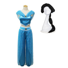 Adult jasmine princess dress Aladdin's lamp cosplay Costume girl dress role play costume two-piece summer dress exotic style(China)