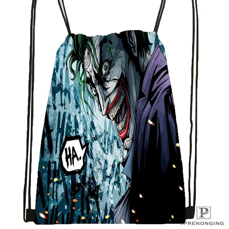 Custom Joker Dark Knight Drawstring Backpack Bag for Man Woman Cute Daypack Kids Satchel Black Back
