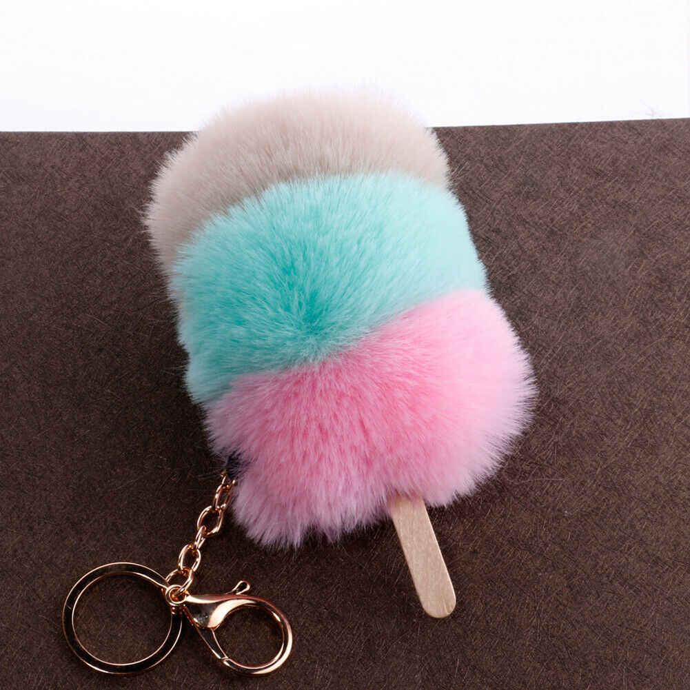 Adorável Fluffy Faux Fur Macio Pendurado Decorações Criativas Sorvete Pompom Bolsa Pingente de Chave Do Carro Dom Cadeia