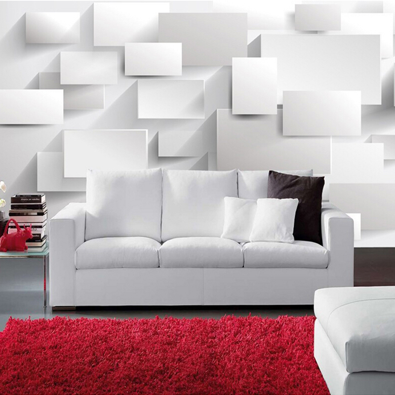 Modern 3d large mural wallpaper living room sofa box 3d for Wallpaper for living room modern