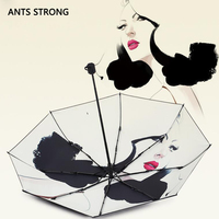 ANTS STRONG Unique original design sun umbrella/sunscreen red lips temptation pattern women folding reverse rain umbrella