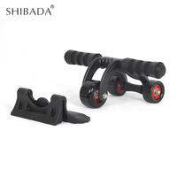 SHIBADA 3 Wheels Power Wheel Triple AB Abdominal Roller Abs Workout Fitness Machine Gym home No Noise Muscle Fitness Equipment