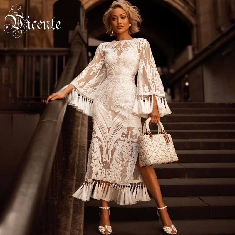 Vicente 2019 New Chic White Dress Tassels Sequins Design Long Sleeves Side Split Celebrity Party Club