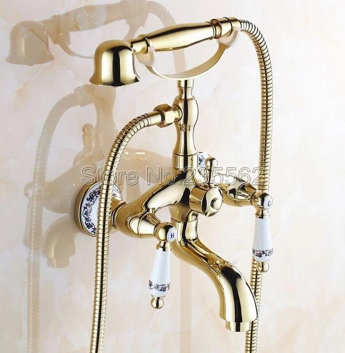 Golden Brass Porcelain Base Wall Mounted Bathroom Tub Shower Faucet Set Dual Ceramic Handle Mixer Tap + Handheld Shower ltf411 micoe brass thermostatic water rainfall shower set faucet tub mixer tap handheld shower wall mounted bathroom m a1014 1d