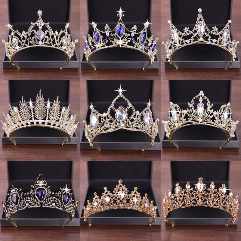 New Wedding Hair Accessories Crystal Tiara For Brides Crown Gold Head Piece Bridal Hair Accessories Crystal Crowns Queen Diadem
