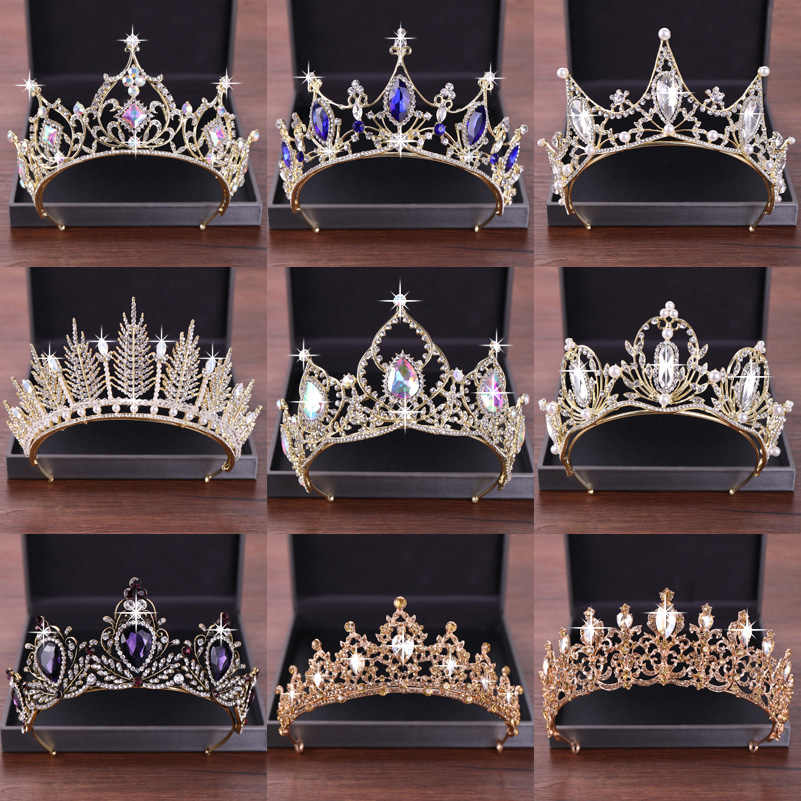 New Wedding Hair Accessories Crystal Tiara For Brides Crown Gold Head Piece Bridal Hair Accessories Crystal Crowns Queen Diadem