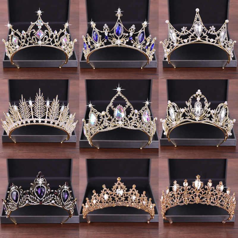 ใหม่งานแต่งงานอุปกรณ์เสริมผมคริสตัล Tiara สำหรับ Brides มงกุฎทองหัวชิ้นเจ้าสาวอุปกรณ์เสริมผมคริสตัลมงกุฎราชินีมงกุฎ