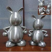 Tin piggy bank Creative piggy bank silver tin alloy piggy bank Animal rabbit Child toy
