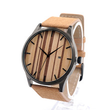 BOBO BIRD G16 Multfunction Calendar Watch Wooden Watches for Men Japanese 2035 Movement Quartz Watches with Real Leather Band