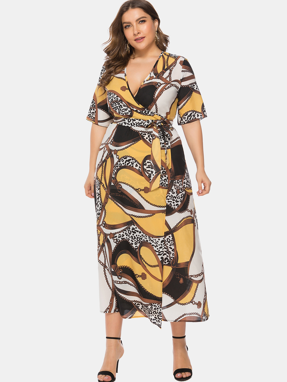 US $14.81 48% OFF|Wipalo Women Plus Size 6XL Chain Print Wrap Maxi Dress  Plunging Neck Short Sleeves Belted Casual Split Dress Big Size Vestidos-in  ...