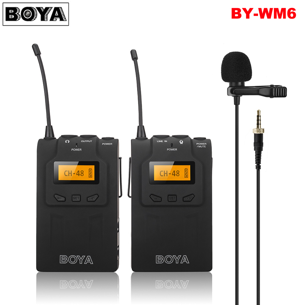 BOYA BY-WM6 UHF Wireless Microphone System Omni-directional Lavalier Microphone for ENG EFP DV DSLR boya by wm6 uhf omni directional lavalier microphone ultra high frequency 48 channel for canon dslr for sony camera camcorders