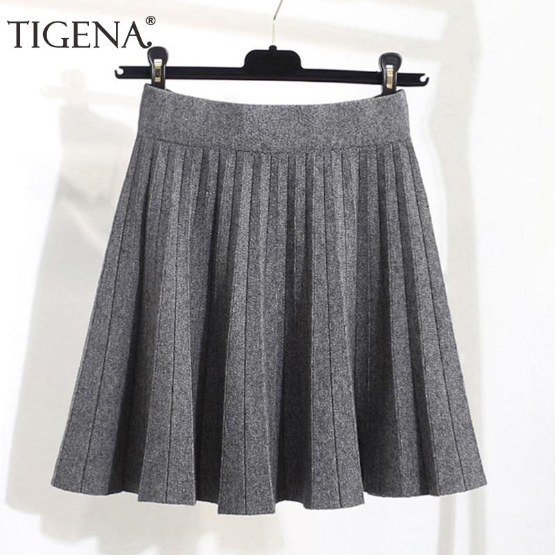 TIGENA 2019 Autumn Winter Knitted Warm Cotton Skirts Women Fashion High Waist Pleated Mini Skirt Female School Black Khaki Gray