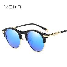 VCKA Redondo Mujeres Polarizadas gafas de Sol A Estrenar Del Diseñador gafas de Sol UV400 de los hombres de la vendimia gafas de sol mujer de Cinco colores Eyew