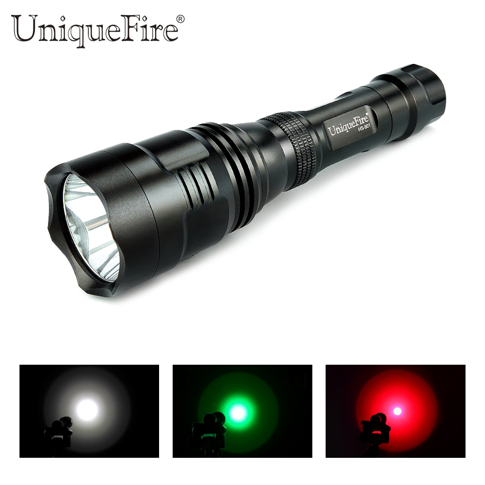 Uniquefire HS-801 Cree q5 Colorful LED Flashlight Power By 18650 Battery Lampe Torche (White/Green/White Light) aresa hs 801
