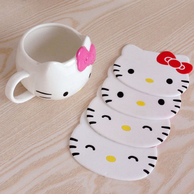 Hello Kitty Kitchen Accessories: 1PC Cartoon Hello Kitty Drink Pads Silicone Dining Table