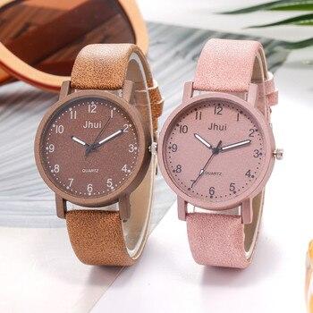 Casual Fashion Jhui Women's Casual Quartz Leather Band Newv Strap Watch Analog Wrist Watch dropshipping