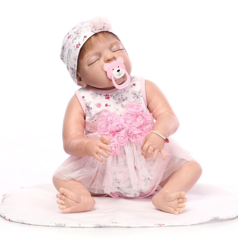 "22"" Soft Pink Sillicone Bathed Baby Doll Play Dolls Lifelike Cute Girls Bebe Doll of Collectible Full Vinyl Body Reborn Dolls"